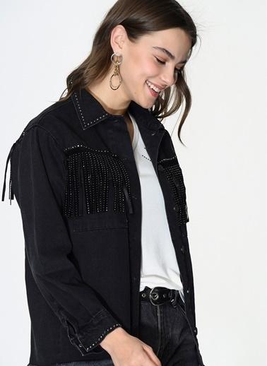 Loves You Taş Püskül Detaylı Jean Ceket Siyah